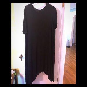 Boohoo Shark Bite Hem Black Maxi Dress